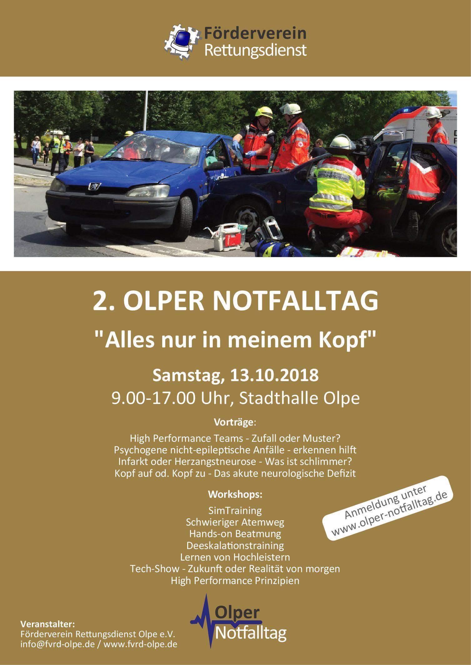Poster und Vorab Flyer 2. Olper Notfalltag